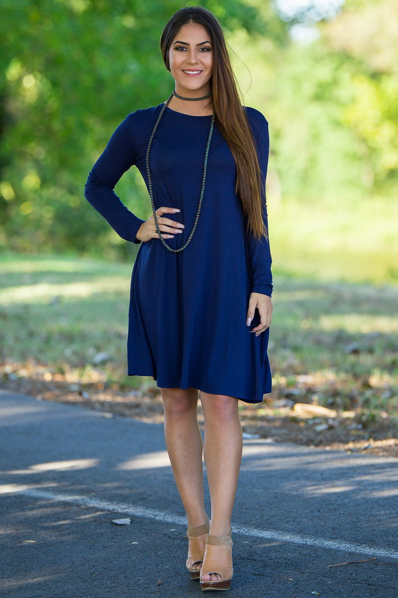 Piko Long Sleeve Swing Dress - Navy - Piko Clothing - 1