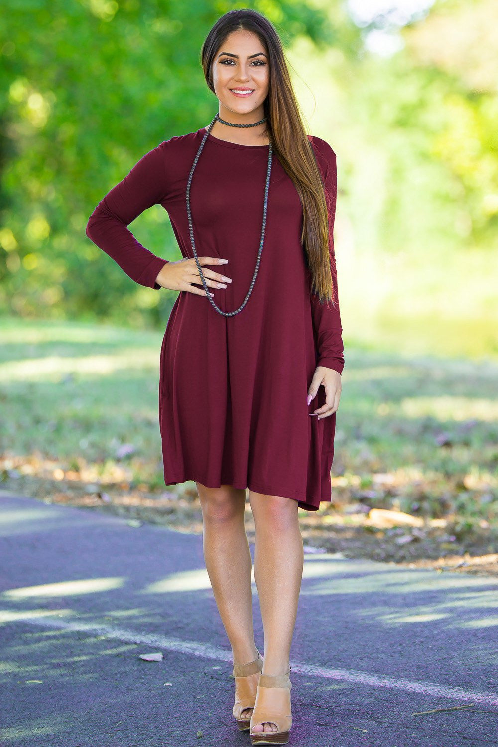 Piko Long Sleeve Swing Dress - Plum