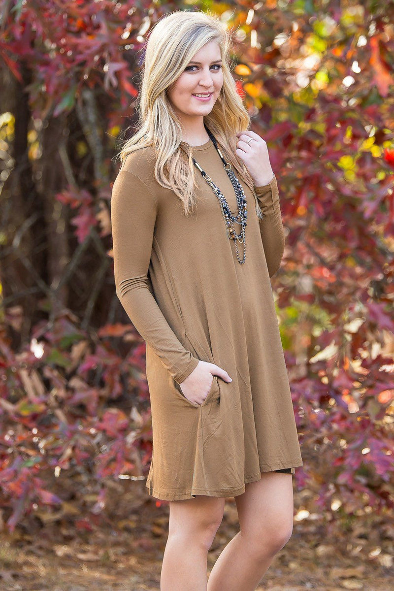 Piko Long Sleeve Swing Dress - Mocha - Piko Clothing