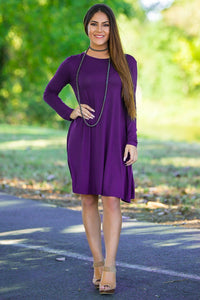 Piko Long Sleeve Swing Dress - Dark Purple
