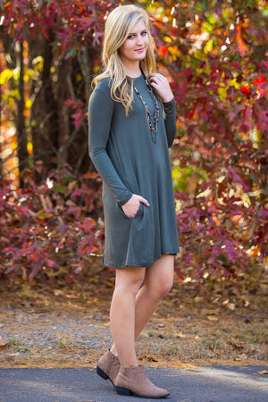 Piko Long Sleeve Swing Dress - Army - Piko Clothing