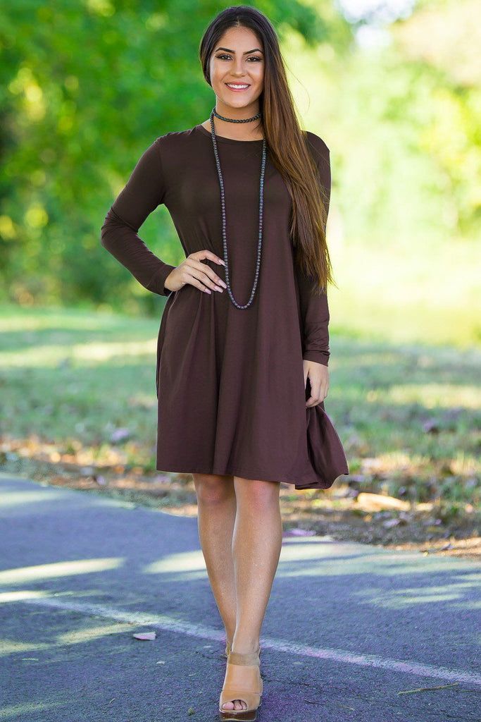 Piko Long Sleeve Swing Dress - Dark Brown