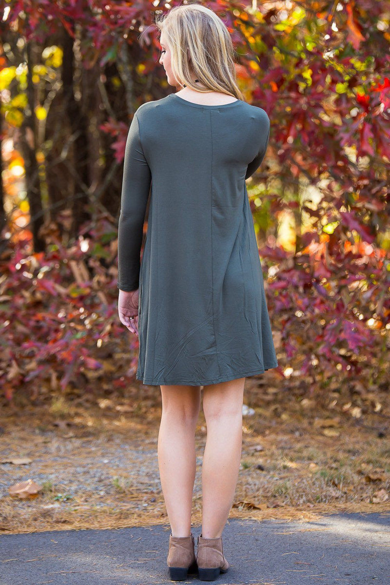 Piko Long Sleeve Swing Dress - Army