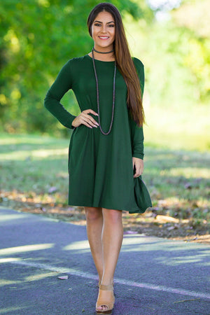 Piko Long Sleeve Swing Dress - Forest Green - Piko Clothing