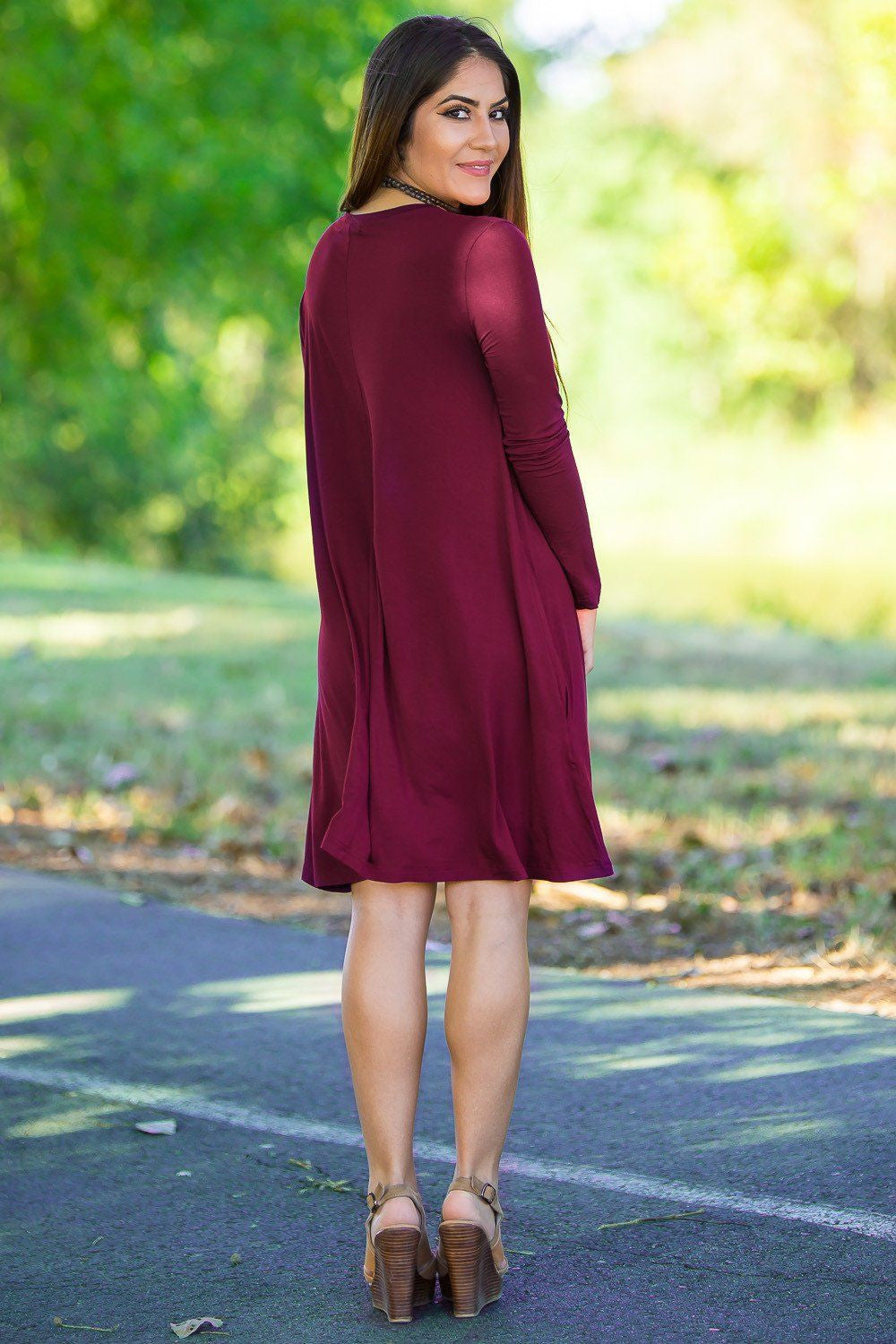 902f7dfebd24 Piko Long Sleeve Swing Dress - Plum