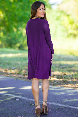 Piko Long Sleeve Swing Dress - Dark Purple - Piko Clothing