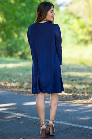 Piko Long Sleeve Swing Dress - Navy - Piko Clothing