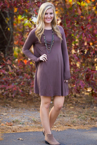 Piko Long Sleeve Swing Dress - Brown