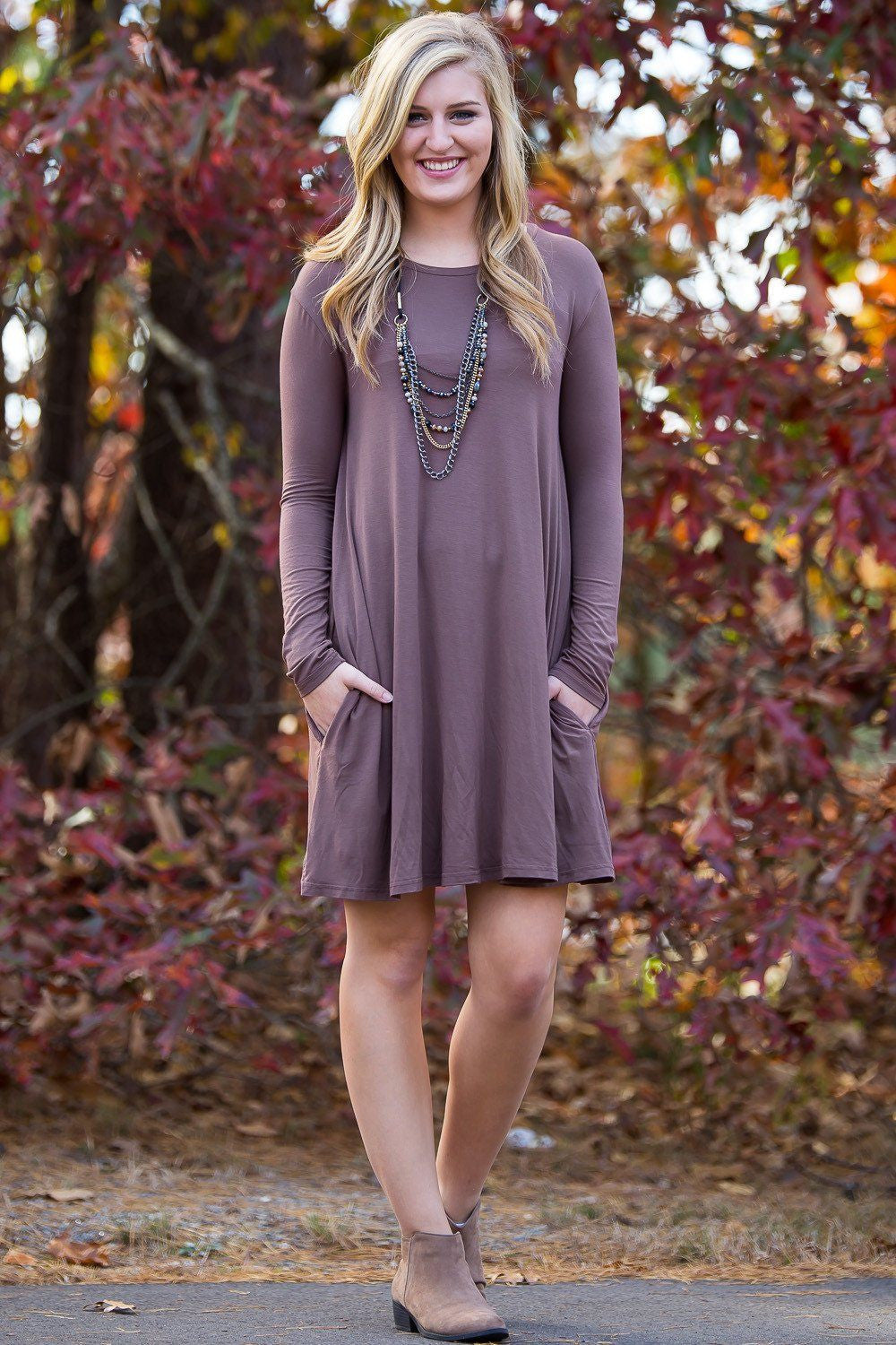 Piko Long Sleeve Swing Dress - Brown (FINAL SALE)