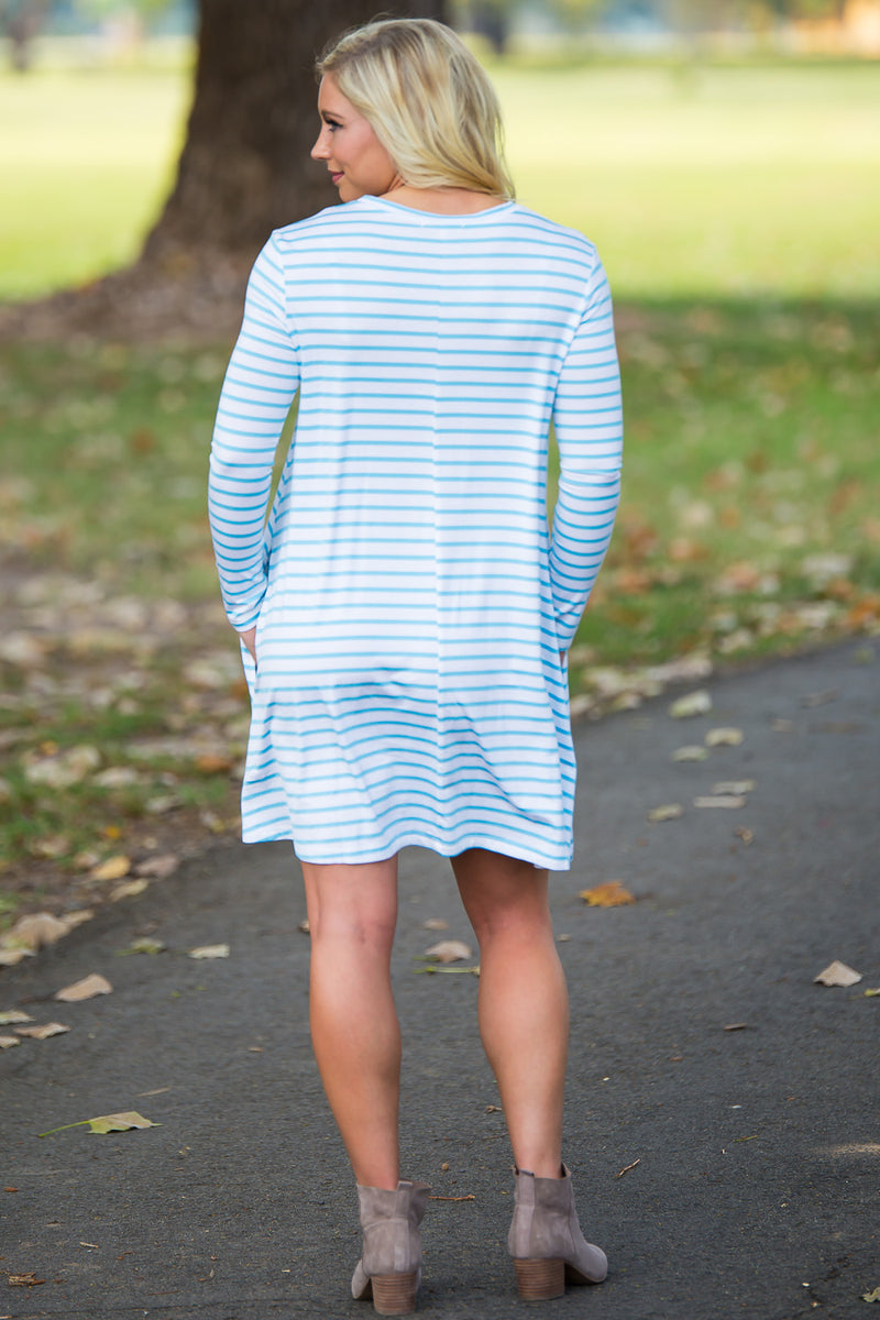Piko Long Sleeve Tiny Stripe Swing Dress - White/Baby Blue - Piko Clothing