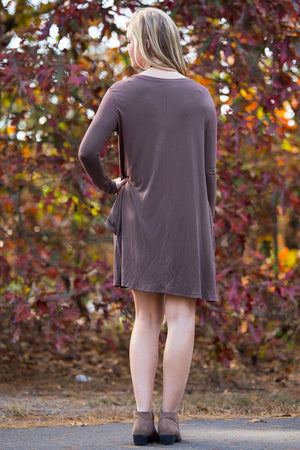 Piko Long Sleeve Swing Dress - Brown - Piko Clothing