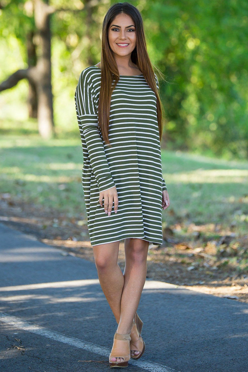 Long Sleeve Tiny Stripe Piko Tunic - Olive/White - Piko Clothing