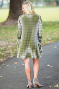 Piko Long Sleeve Tiny Stripe Swing Dress - Olive/White