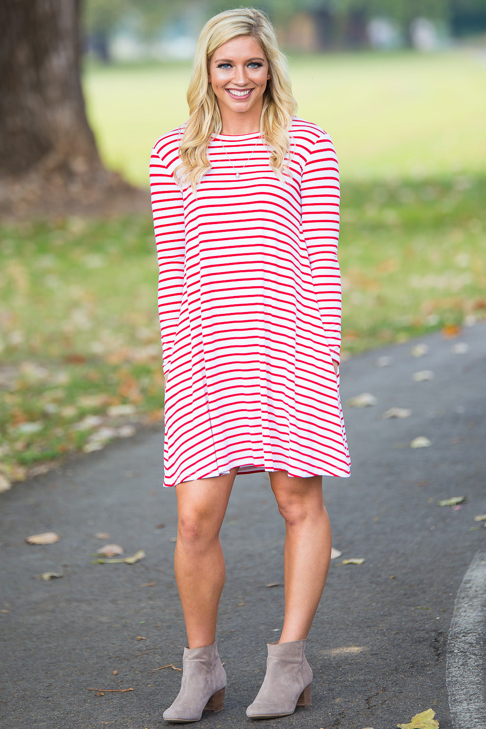 Piko Long Sleeve Tiny Stripe Swing Dress - White/Red