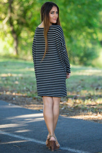 Long Sleeve Tiny Stripe Piko Tunic - Black/Heather - Piko Clothing