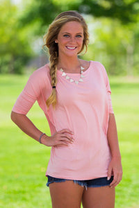 3/4 Sleeve Piko Top - Peach - Piko Clothing