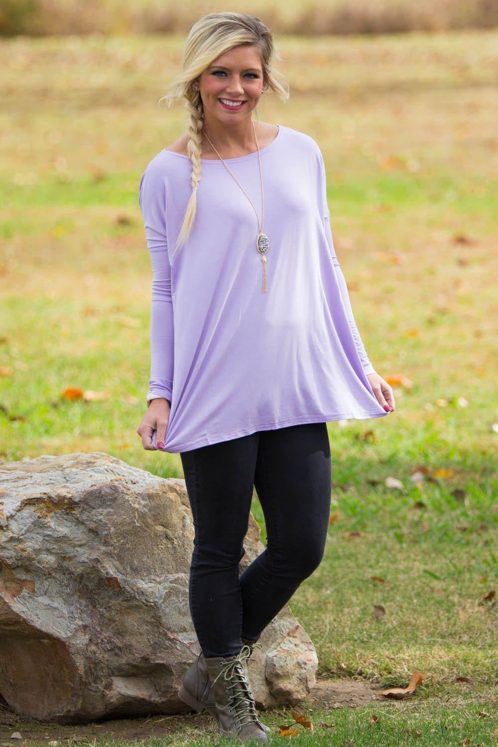 Long Sleeve Piko Top - Lilac - Piko Clothing