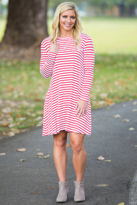 Piko Long Sleeve Tiny Stripe Swing Dress - White/Red - Piko Clothing