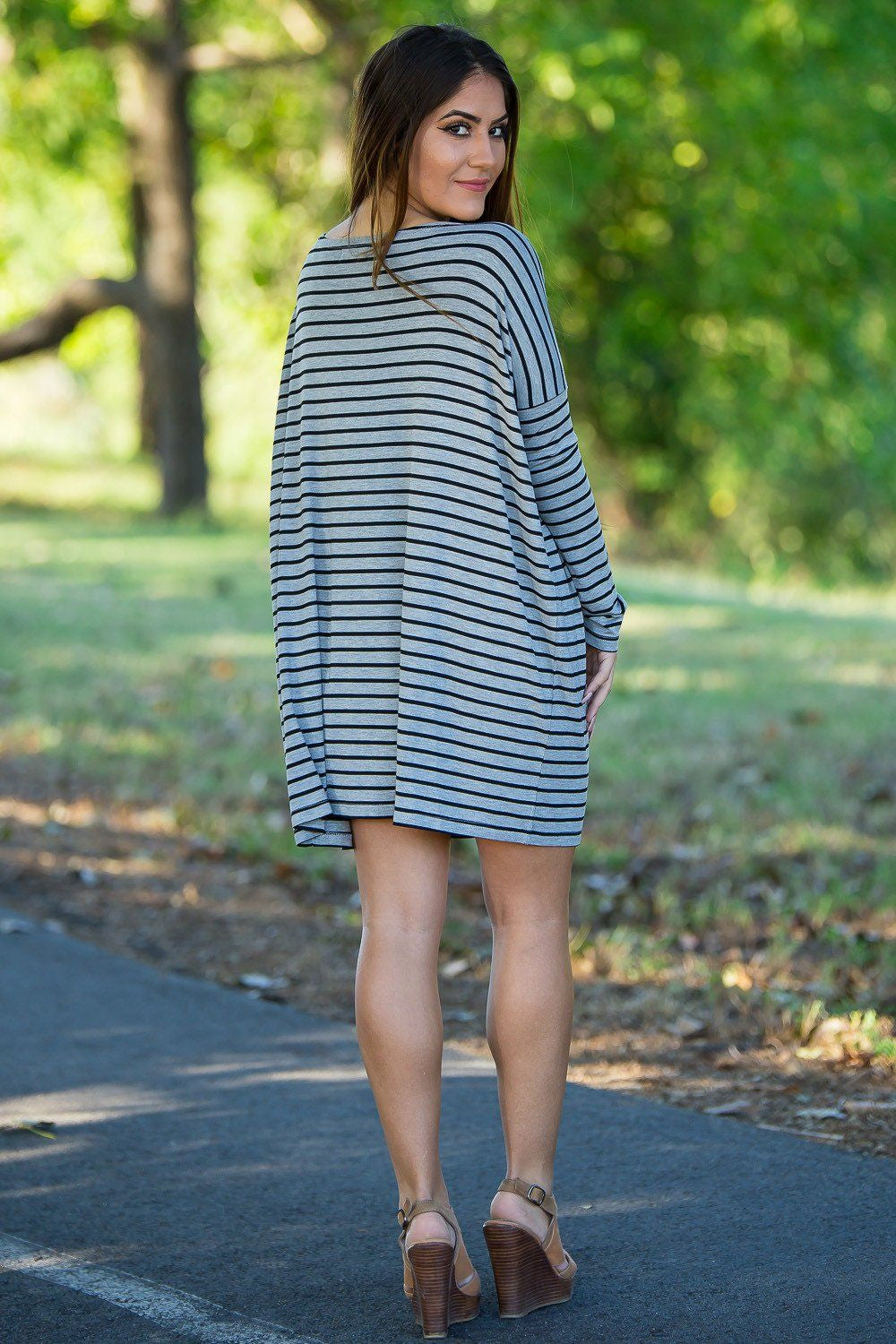 Long Sleeve Tiny Stripe Piko Tunic - Heather/Black - Piko Clothing