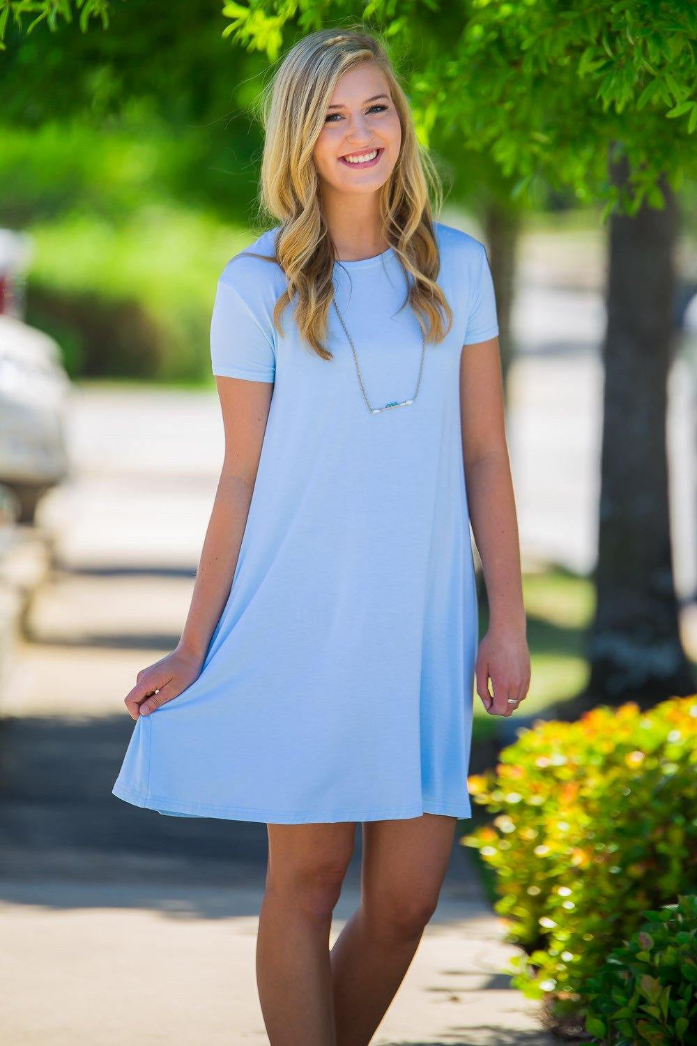 Piko Short Sleeve Swing Dress-Light Blue - Piko Clothing - 1