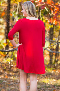 Piko 3/4 V-Neck Sleeve Swing Dress - Red