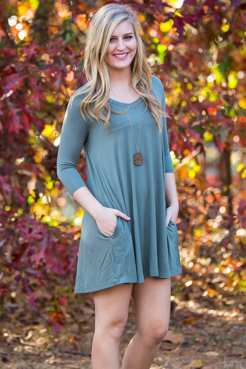 Piko 3/4 V-Neck Sleeve Swing Dress - Olive