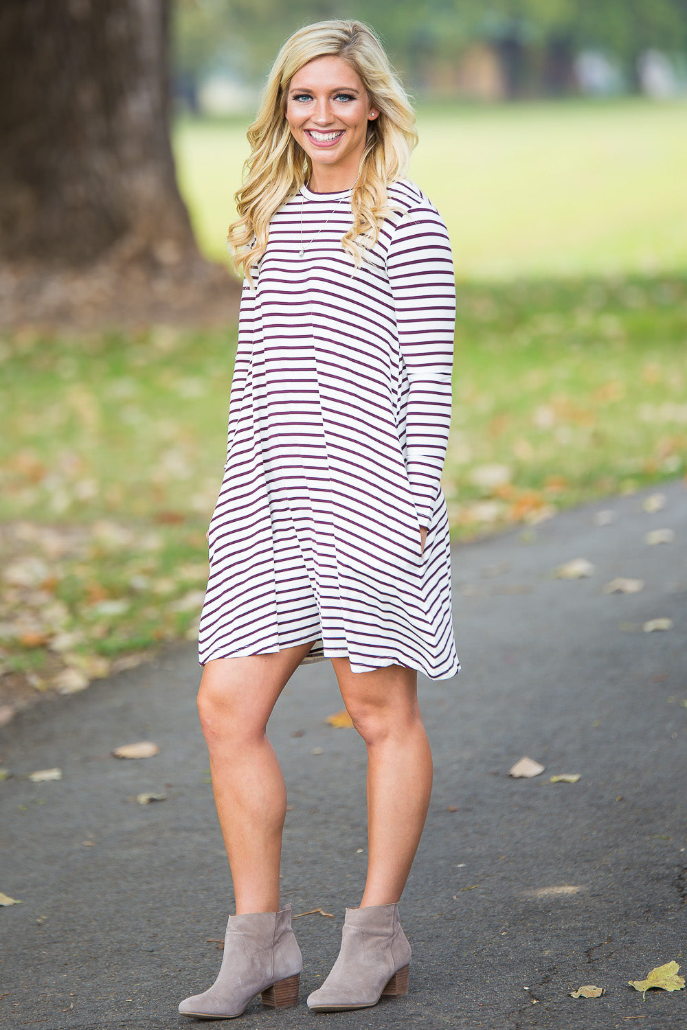 Piko Long Sleeve Tiny Stripe Swing Dress - White/Burgundy