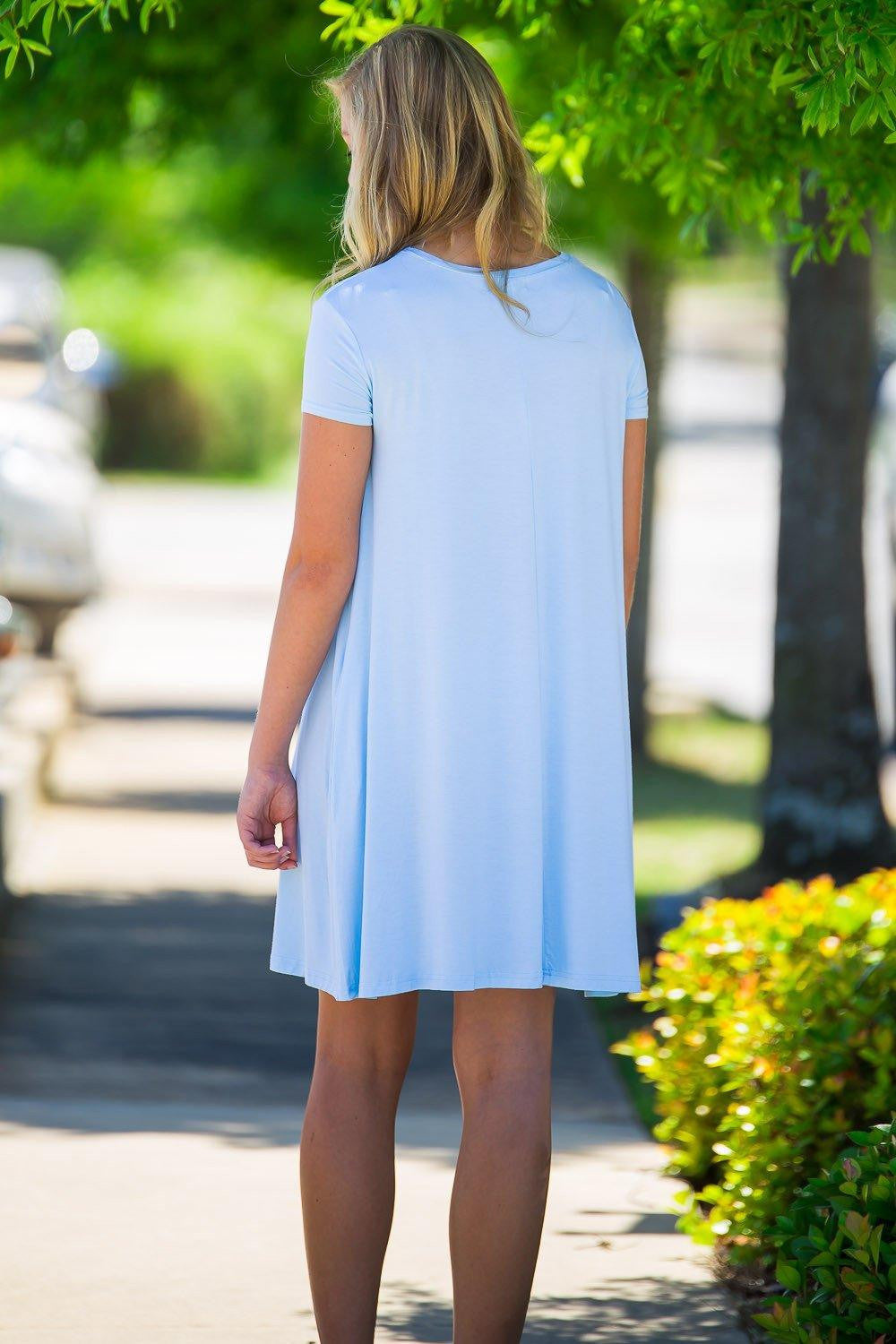 Piko Short Sleeve Swing Dress - Light Blue - Piko Clothing
