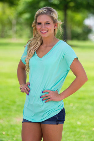 Short Sleeve Rolled Sleeve V-Neck Piko Top - Lucite Green - Piko Clothing - 1