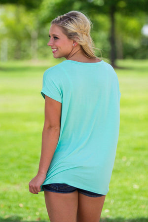 Short Sleeve Rolled Sleeve V-Neck Piko Top - Lucite Green - Piko Clothing - 2