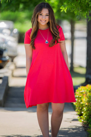 Piko Short Sleeve Swing Dress-Watermelon - Piko Clothing