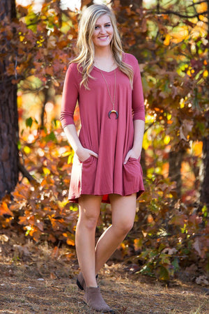 Piko 3/4 V-Neck Sleeve Swing Dress - Marsala - Piko Clothing