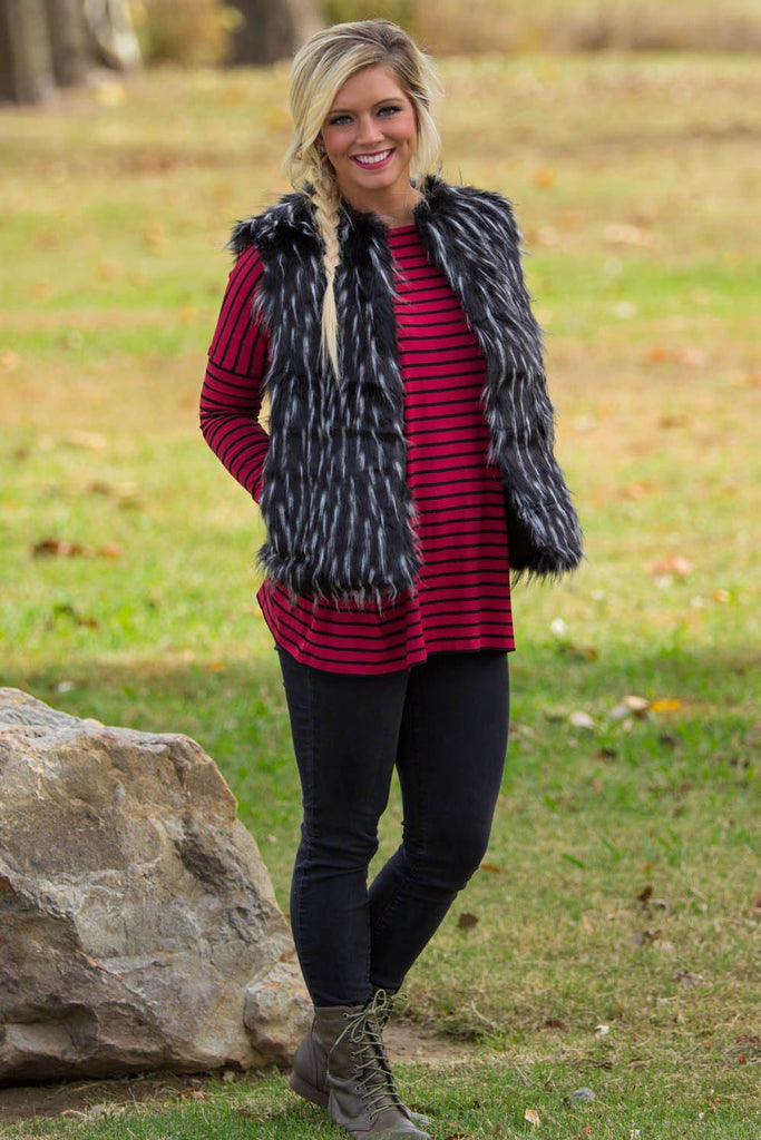 Faux Fur Open Piko Vest- Black Speck - Piko Clothing