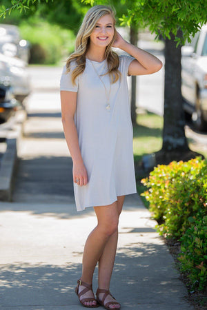 Piko Short Sleeve Swing Dress-Light Grey - Piko Clothing - 1