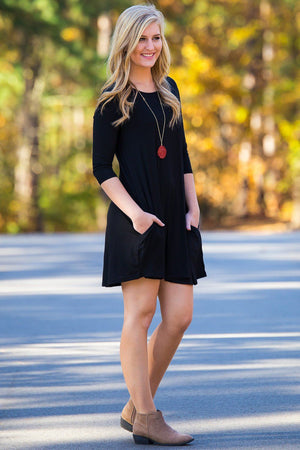Piko 3/4 Sleeve Swing Dress - Black