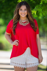 Short Sleeve V-Neck Piko Top - Red - Piko Clothing - 1