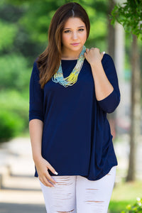 3/4 Sleeve Piko Top - Navy
