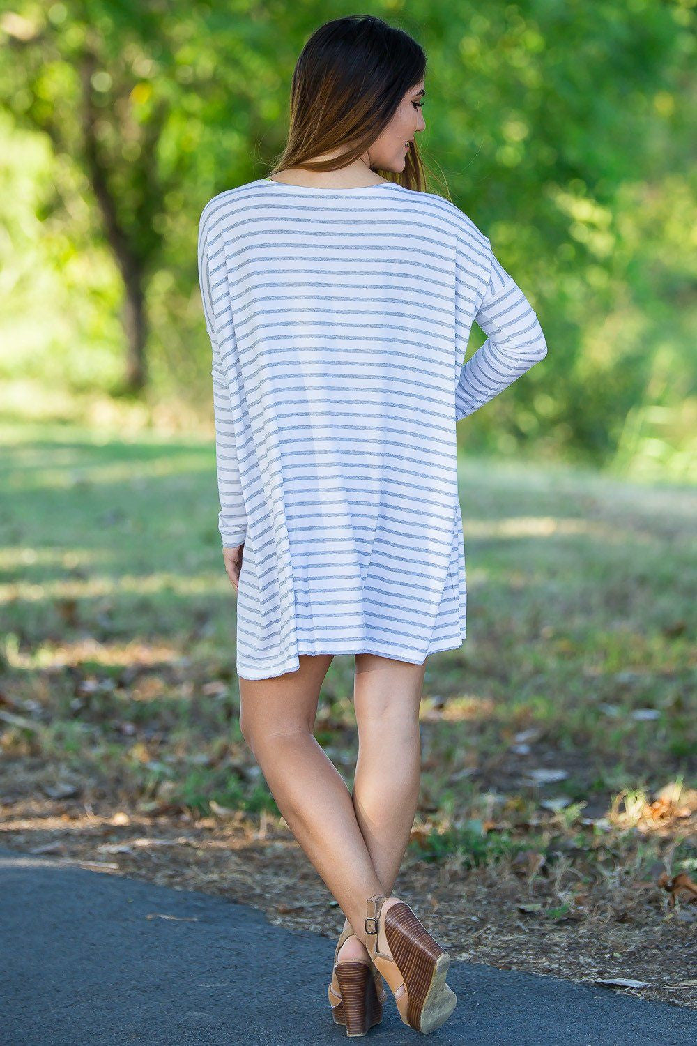 Long Sleeve Tiny Stripe Piko Tunic - White/Heather - Piko Clothing