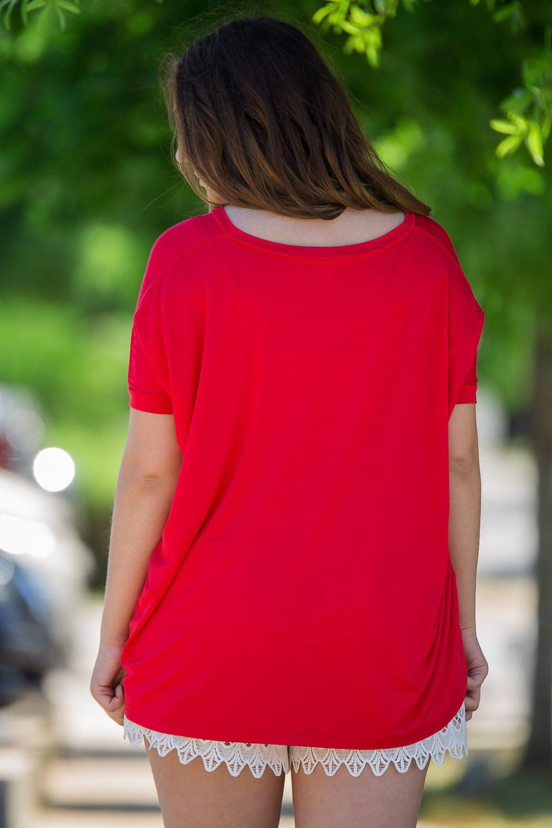Short Sleeve V-Neck Piko Top - Red - Piko Clothing - 2