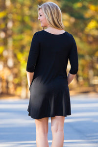 Piko 3/4 Sleeve Swing Dress - Black - Piko Clothing
