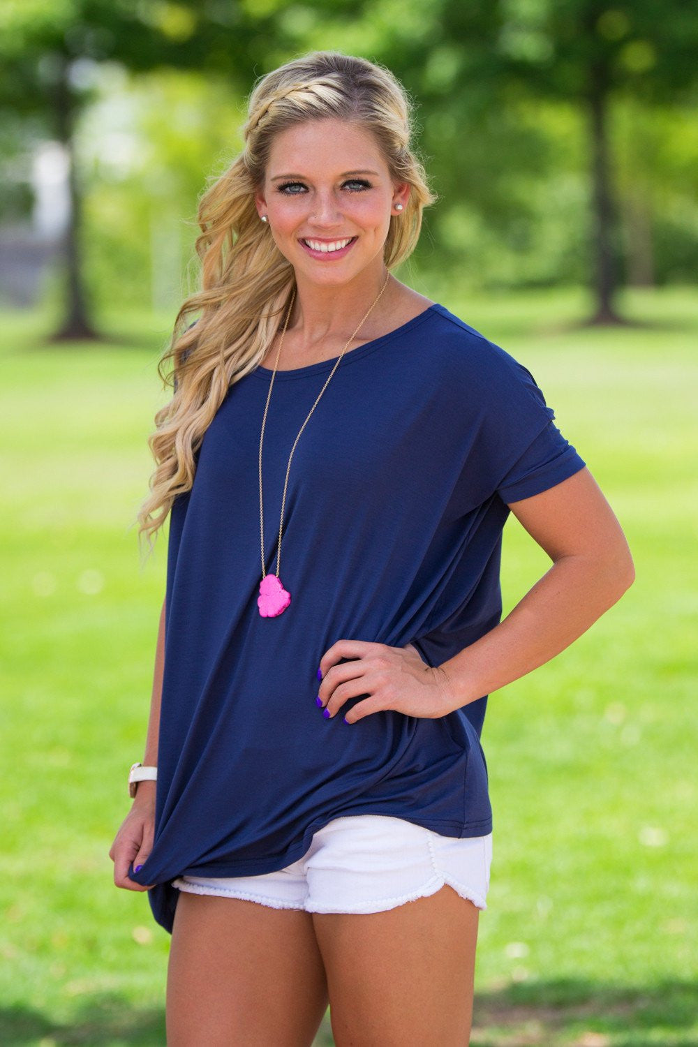 Short Sleeve Piko Top - Navy - Piko Clothing - 1
