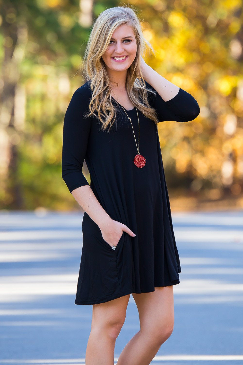 Piko 3/4 V-Neck Sleeve Swing Dress - Black - Piko Clothing