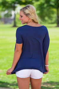 Short Sleeve Piko Top - Navy - Piko Clothing