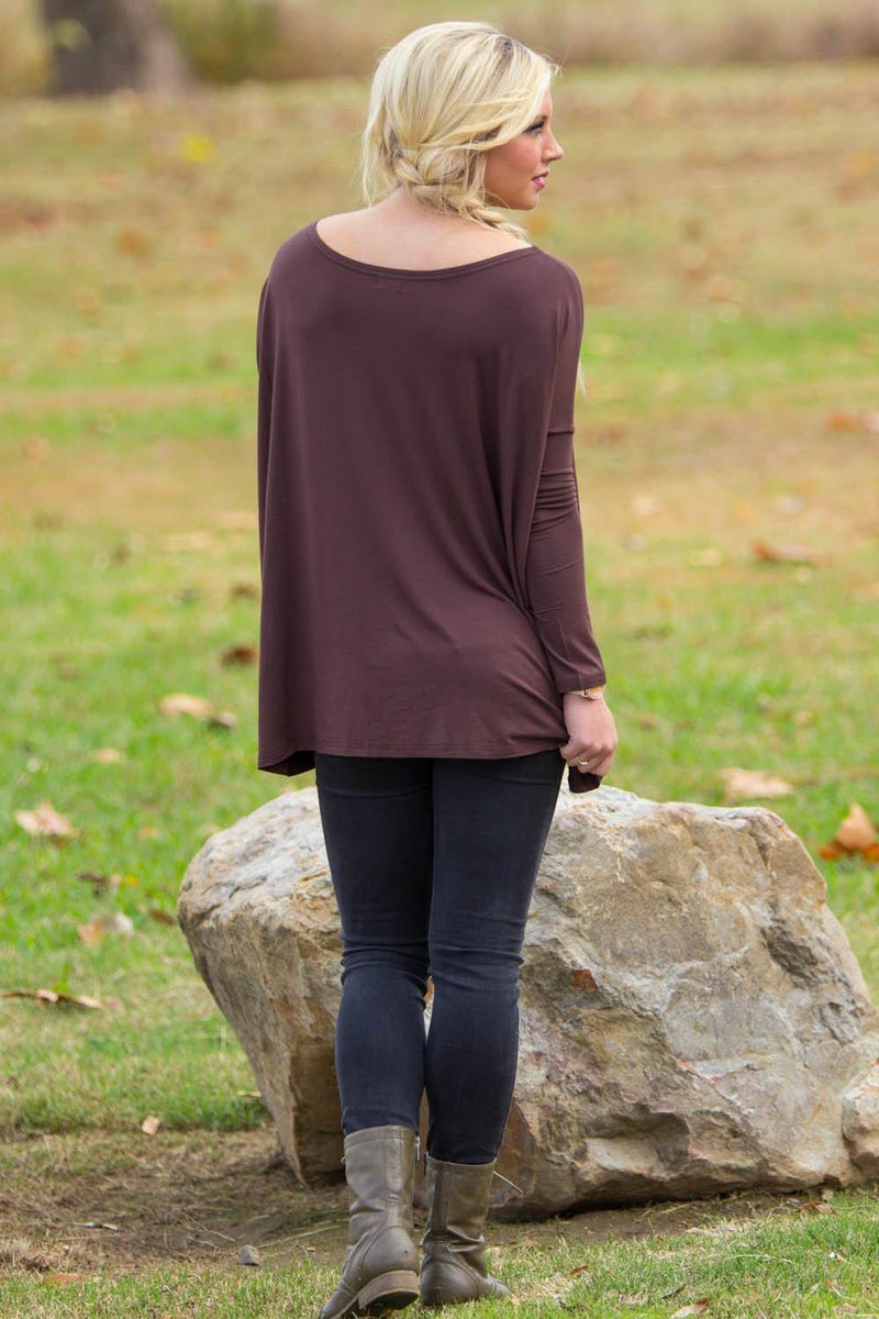 Long Sleeve Piko Top - Dark Brown - Piko Clothing