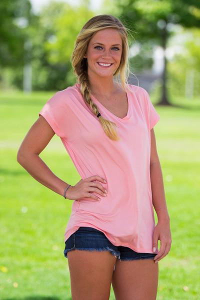 Short Sleeve Rolled Sleeve V-Neck Piko Top - Peach - Piko Clothing - 1