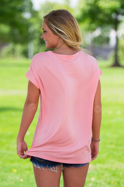 Short Sleeve Rolled Sleeve V-Neck Piko Top - Peach - Piko Clothing - 2