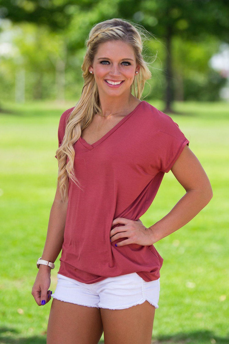 Short Sleeve Rolled Sleeve V-Neck Piko Top - Marsala - Piko Clothing - 1
