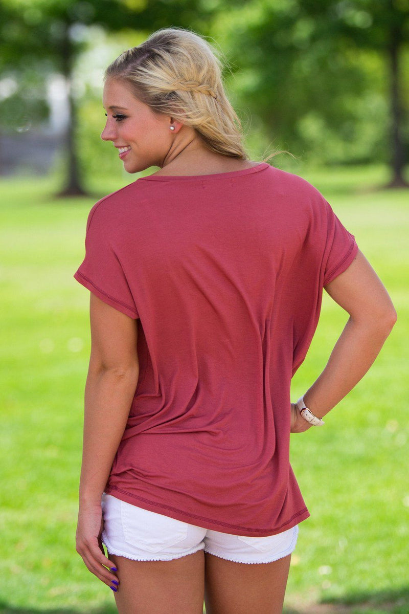 Short Sleeve Rolled Sleeve V-Neck Piko Top - Marsala - Piko Clothing - 2