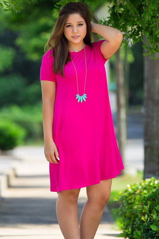 Piko Short Sleeve Swing Dress - Fuchsia - Piko Clothing - 1