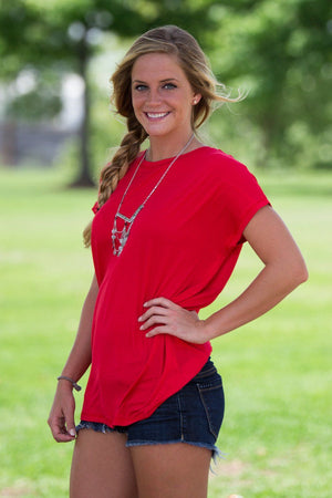 Short Sleeve Rolled Sleeve Piko Top - Red - Piko Clothing